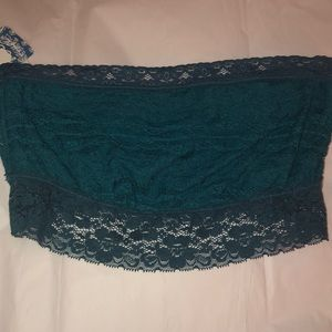 Free People Teal Lace Bandeau w/grey lace Size M